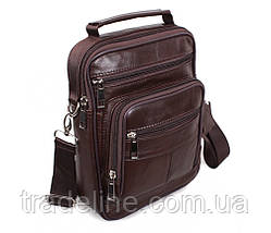 Мужская кожаная сумка Dovhani Black402035 Коричневая, фото 3
