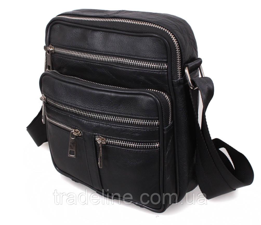 Мужская кожаная сумка Dovhani BLACK60298 чернная