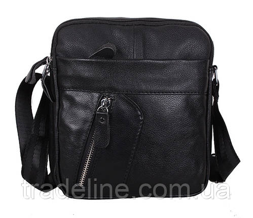 Мужская кожаная сумка Dovhani Bon-1028147 Черная Ш18,5 х В20 х Г 7,5-9см, фото 2