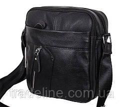 Мужская кожаная сумка Dovhani Bon-1028147 Черная Ш18,5 х В20 х Г 7,5-9см, фото 3