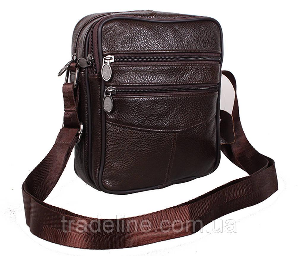 Мужская кожаная сумка Dovhani Bon-2011-127 Коричневая 11.5 х 20 х 7,5-9см