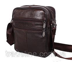 Мужская кожаная сумка Dovhani Bon-2011-127 Коричневая 11.5 х 20 х 7,5-9см, фото 3