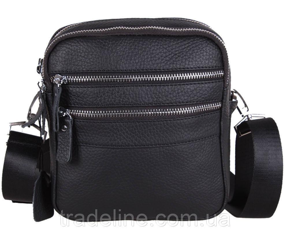 Мужская кожаная сумка Dovhani T3012888 Черная