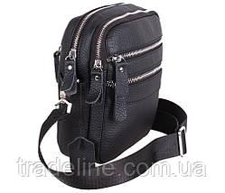 Мужская кожаная сумка Dovhani T3012888 Черная, фото 3