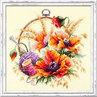 Набор для вышивки крестиком Маки для искусницы  25 х 25 см Чудесная игла