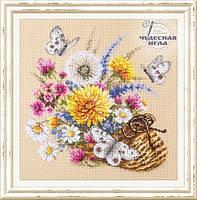 Набор для вышивки крестиком Луговые цветы 25х25 см Чудесная игла
