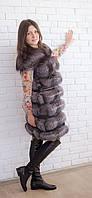 Жилетка из меха чернобурки удлиненная, фото 1