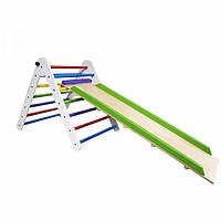 Детский спортивный комплекс-уголок для дома и квартиры треугольник пиклера цветной с горкой от 2 месяцев 65 см