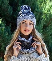 Комплект шапка с ниточным бубоном и шарф в 5ти цветах 4215-7