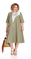 Платье Pretty-1054 белорусский трикотаж, хаки, 56