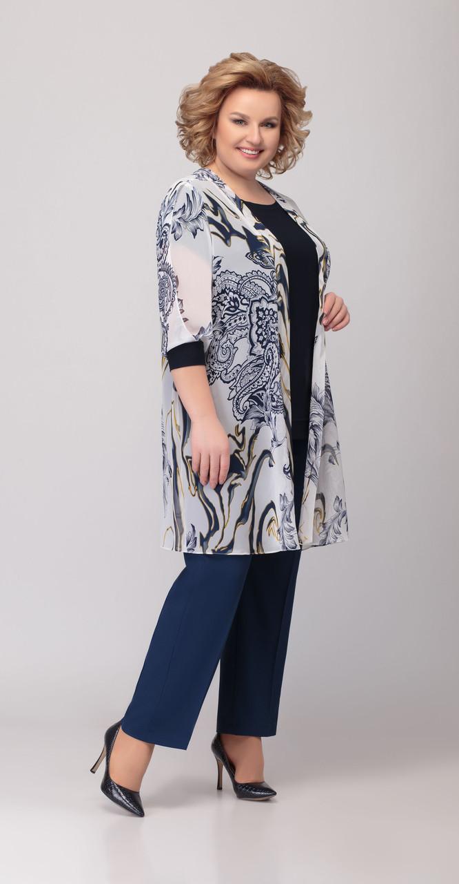 Костюм Denissa Fashion-1306 белорусский трикотаж, горох-розовый, 54