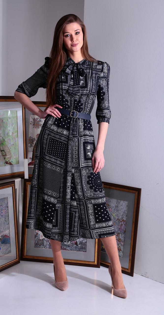 Платье Axxa-55122В белорусский трикотаж, темно-синие тона, 48