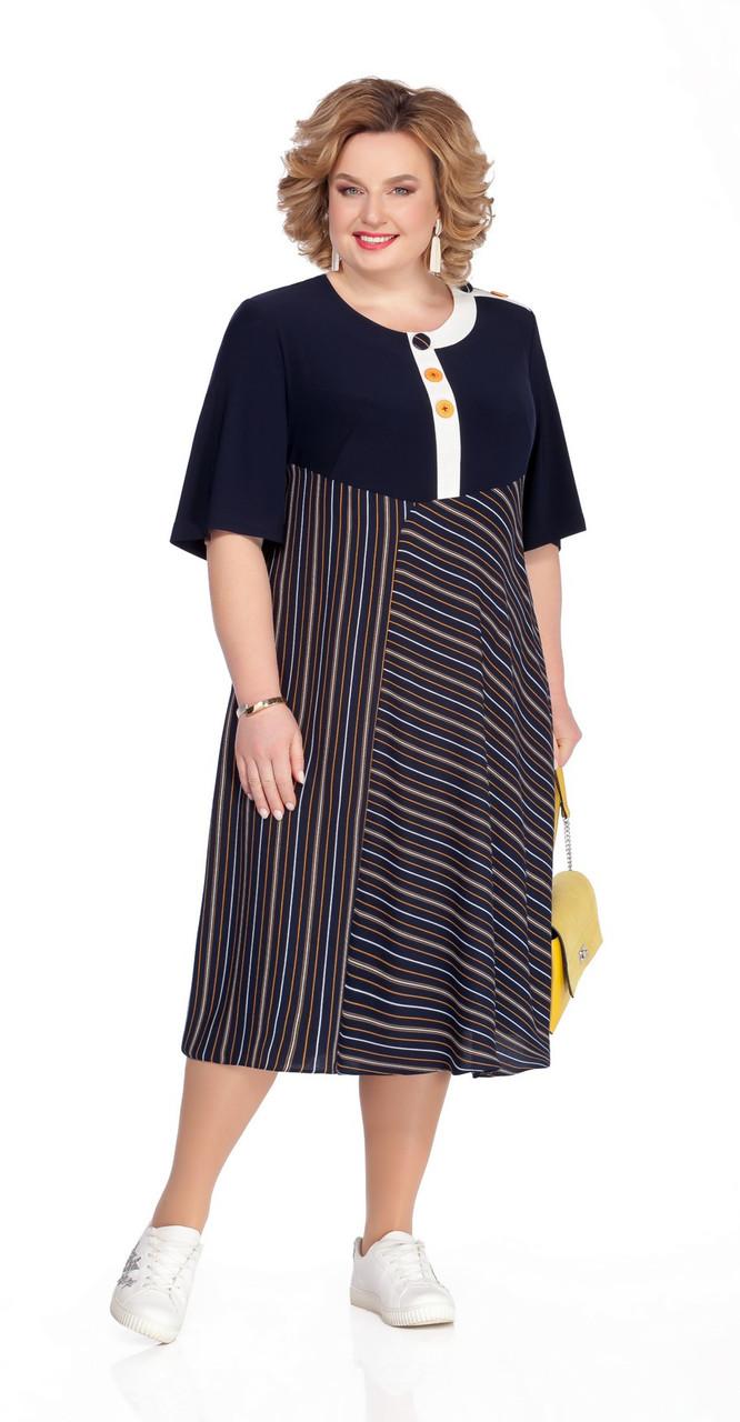 Платье Pretty-1056 белорусский трикотаж, тёмно-синий, 56