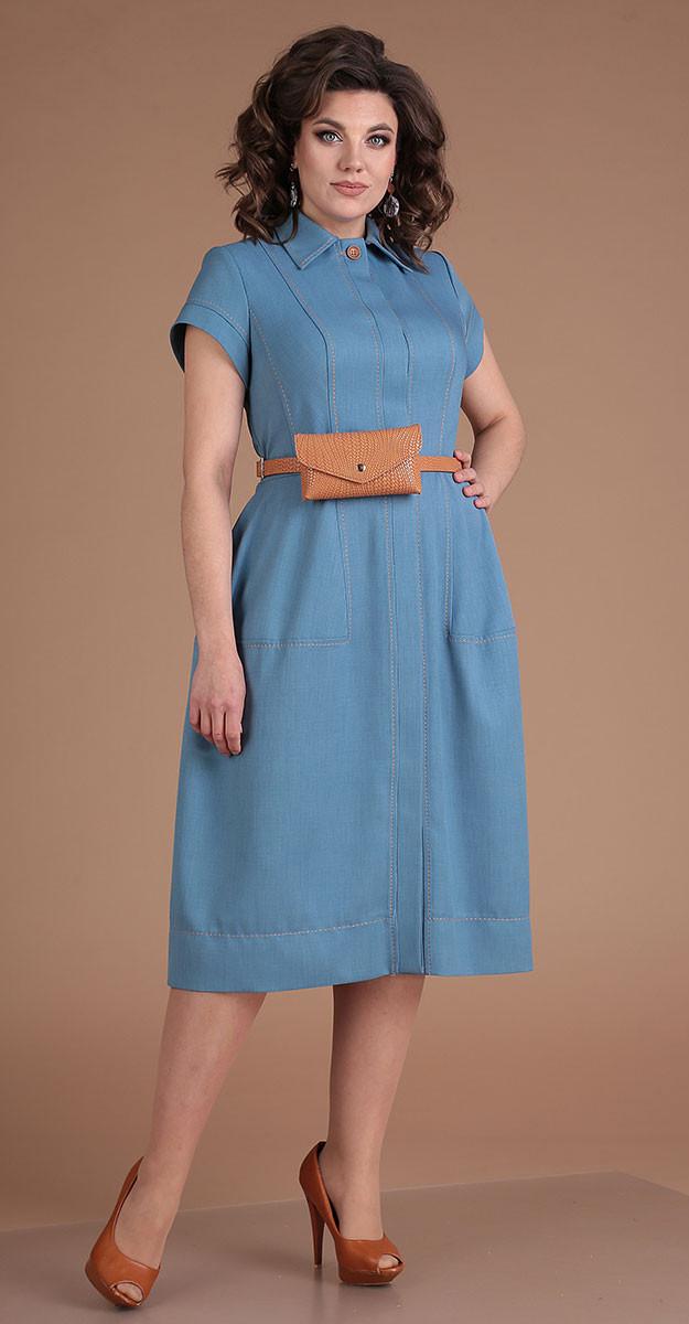 Платье Мода-Юрс-2549/3 белорусский трикотаж, голубой, 48