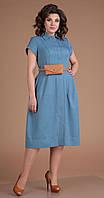 Платье Мода-Юрс-2549/3 белорусский трикотаж, голубой, 48, фото 1