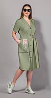 Платье Сч@стье-7058-6 белорусский трикотаж, светлый хаки, 42