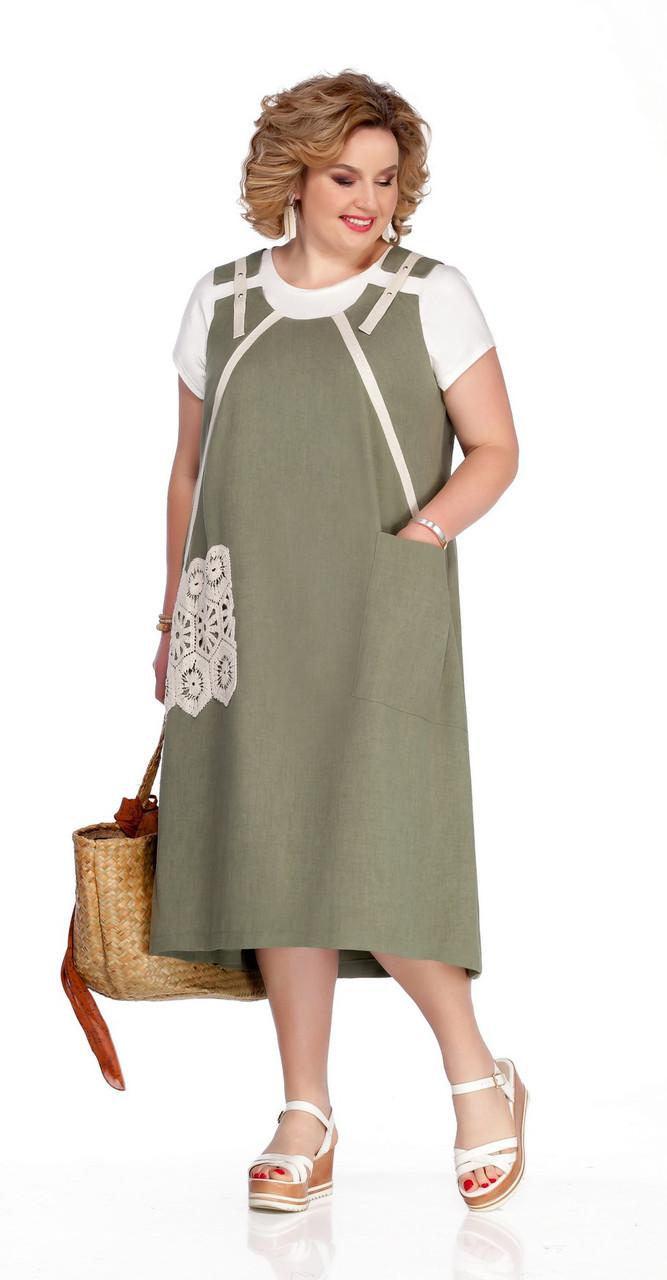 Платье Pretty-1059/1 белорусский трикотаж, хаки, 56