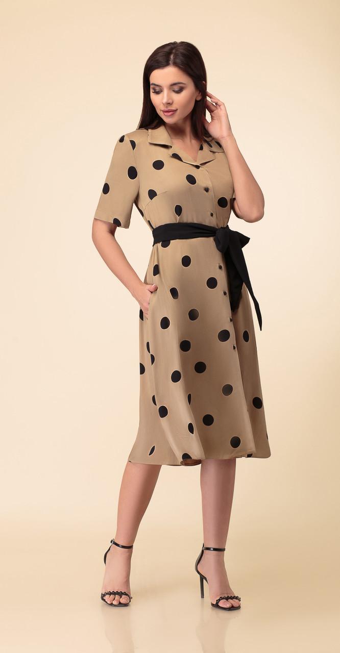 Платье Дали-4353 белорусский трикотаж, кофейные тона, 46