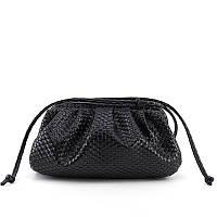 Маленькая женская сумка. Сумка пауч женская плетеная в стиле bottega veneta. Сумочка клатч облако (черная)