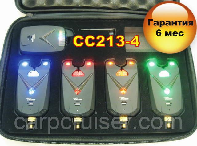 Набор сигнализаторов поклевки Carpcruiser CC213-4 УЦЕНКА !!! с радио пейджером, анти вор