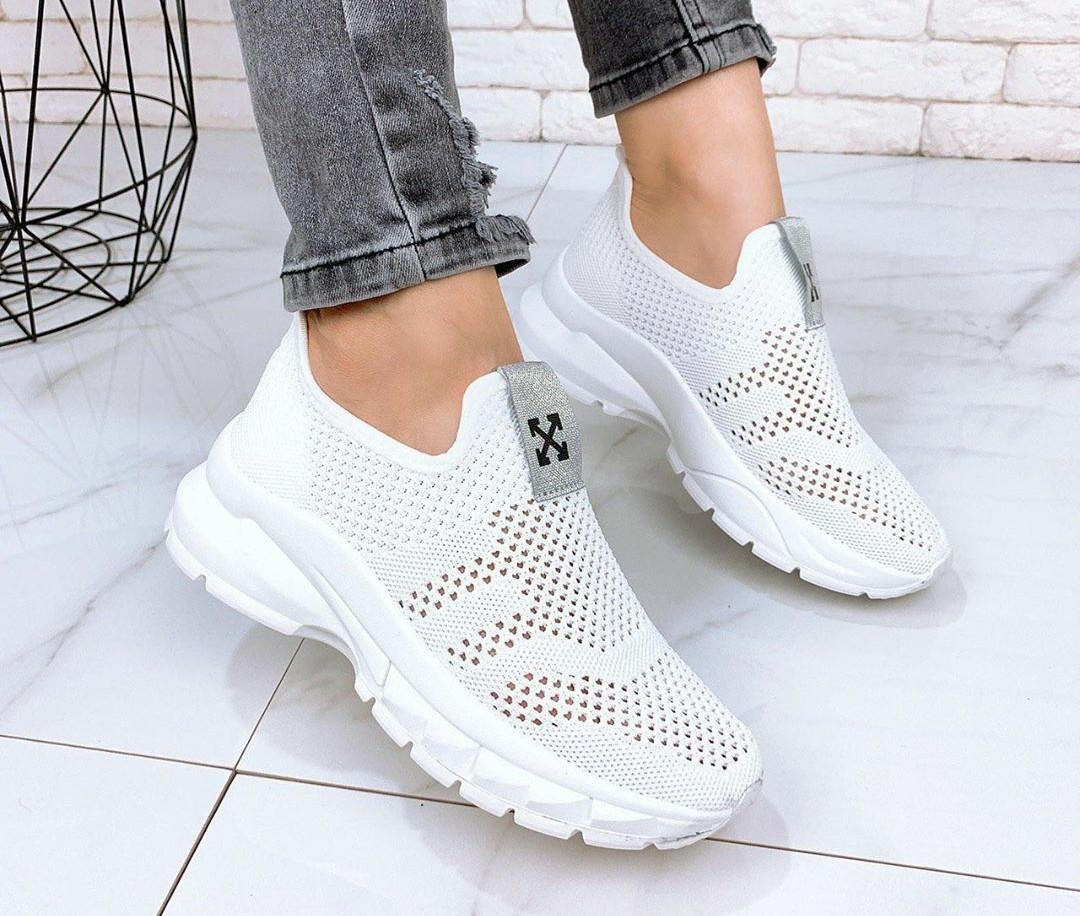 Женские  белые кроссовки текстиль, ОВ 1287