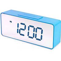 Настольные электронные часы VST-886Y-5 зеркальные, на батарейках, 15 мелодий, синие