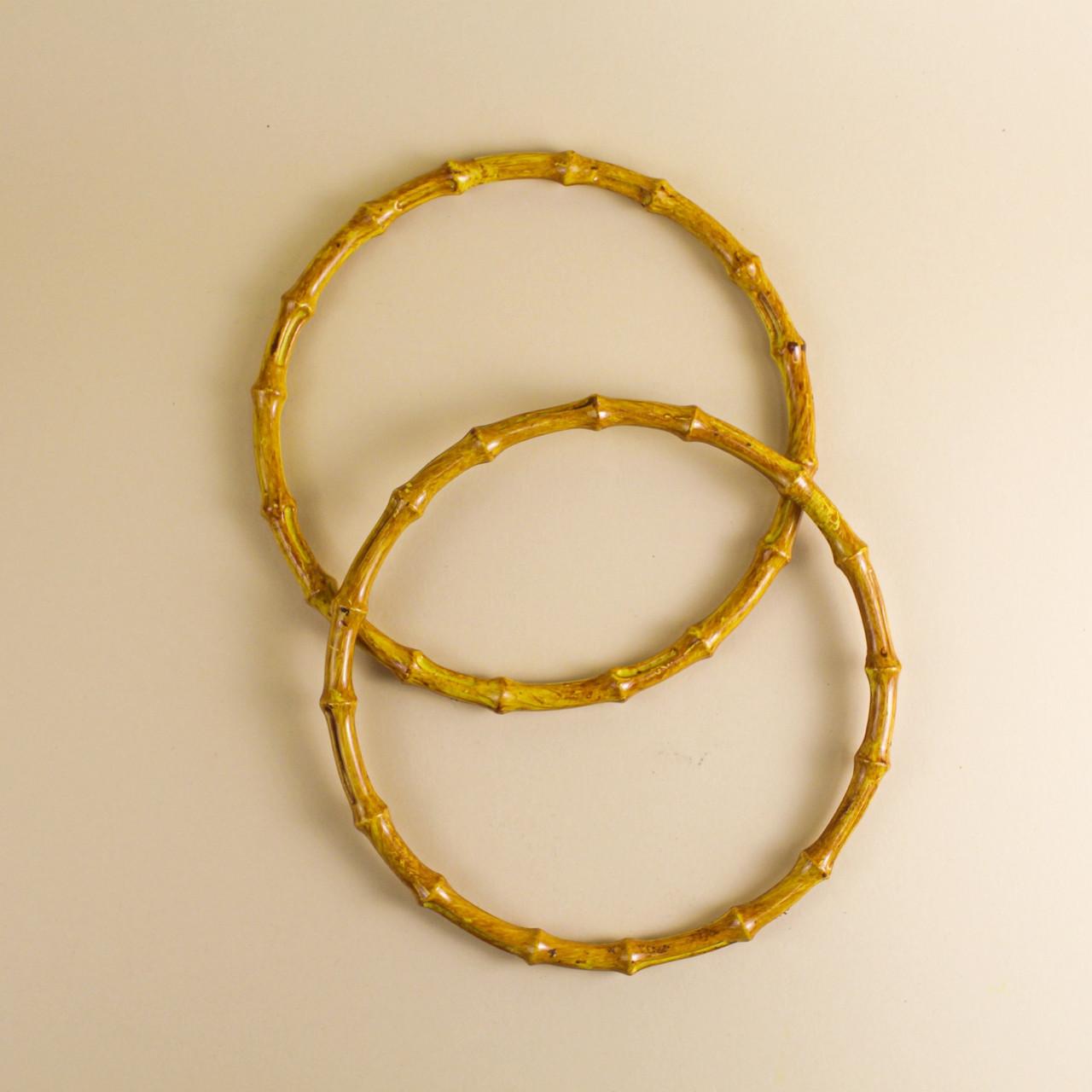 """Комплект ручек для сумки пластиковых круглых Кольцо """"бамбук"""" 14,5 см Охра"""