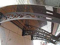 Металевий збірний дашок Dash'Ok Стиль 2,05м*1м з монолітним полікарбонатом 3мм, фото 1