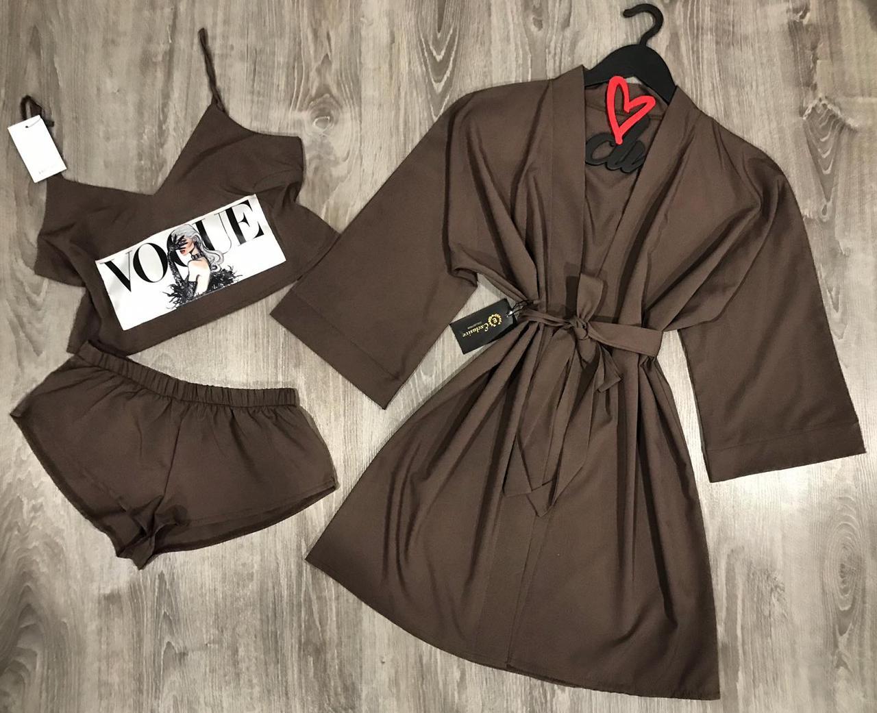 Коричневый комплект одежды  халат+пижама (майка-топ с рисунком и шорты).
