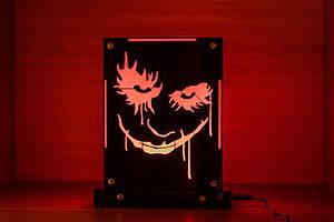 Декоративный настольный ночник Джокер, теневой светильник, несколько подсветок (батарейка+220В)
