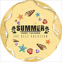 """Рушник пляжний круглий з бахрамою """"Пісок Summer"""" бежевий мікрофібра 150см"""