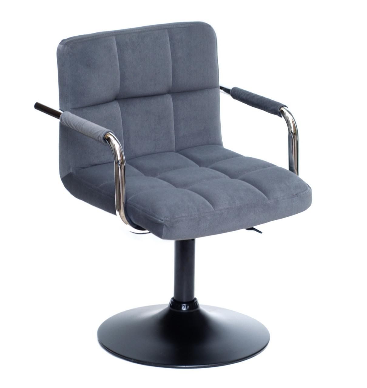 Кресло парикмахера Арно ARNO ВК-BASE серый бархат на блине с подлокотниками экокожа
