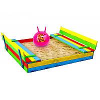 Деревянная песочница с лавочками для детей Just Fun 150 х 154 см, фото 1