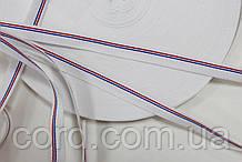 Тесьма Репс 10мм 50м белый + 1п красный +1п василек