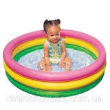 Бассейн детский, круглый, с надувным дном, 3 кольца