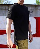 Удлиненная футболка черная  Hitman