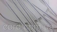 Тесьма Репс 10мм 50м белый + серебро