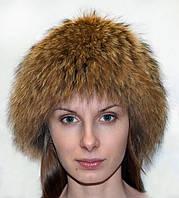 Шапка женская из натурального меха енота.