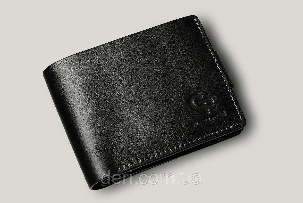 Кожаное мужское портмоне  Amico, глянцевый черный мужской кошелек  Amico