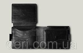 Кожаное мужское портмоне  Amico, глянцевый черный мужской кошелек  Amico, фото 2