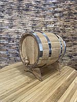 Бочка дубовая 15 л. для самогона, вина, коньяка обручи - нержавеющие.