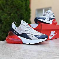 Женские кроссовки в стиле Nike Air Max 270 серые с чёрным красная пятка, фото 1