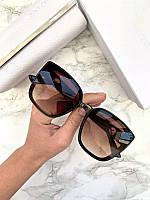 Женские солнцезащитные очки Fendi реплика коричневые с градиентом, фото 1