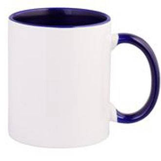 Чашка кольорова всередині і ручка СИНЯ (кобальт)