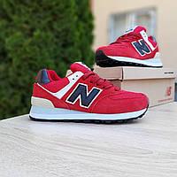 Женские кроссовки в стиле New Balance 574 красные (чёрная N), фото 1