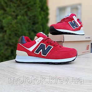 Женские кроссовки в стиле New Balance 574 красные (чёрная N)