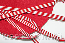 Тесьма Репс 10мм 50м красный + белый