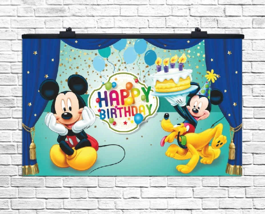 Плакат для праздника Микки Маус Happy Birthday, 75*120 см