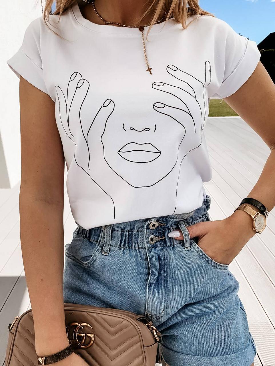 Турецкая стильная женская футболка 42-46 (в расцветках)