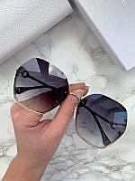 Женские солнцезащитные шестигранные очки Bvlgari реплика черные в золотой оправе, фото 1